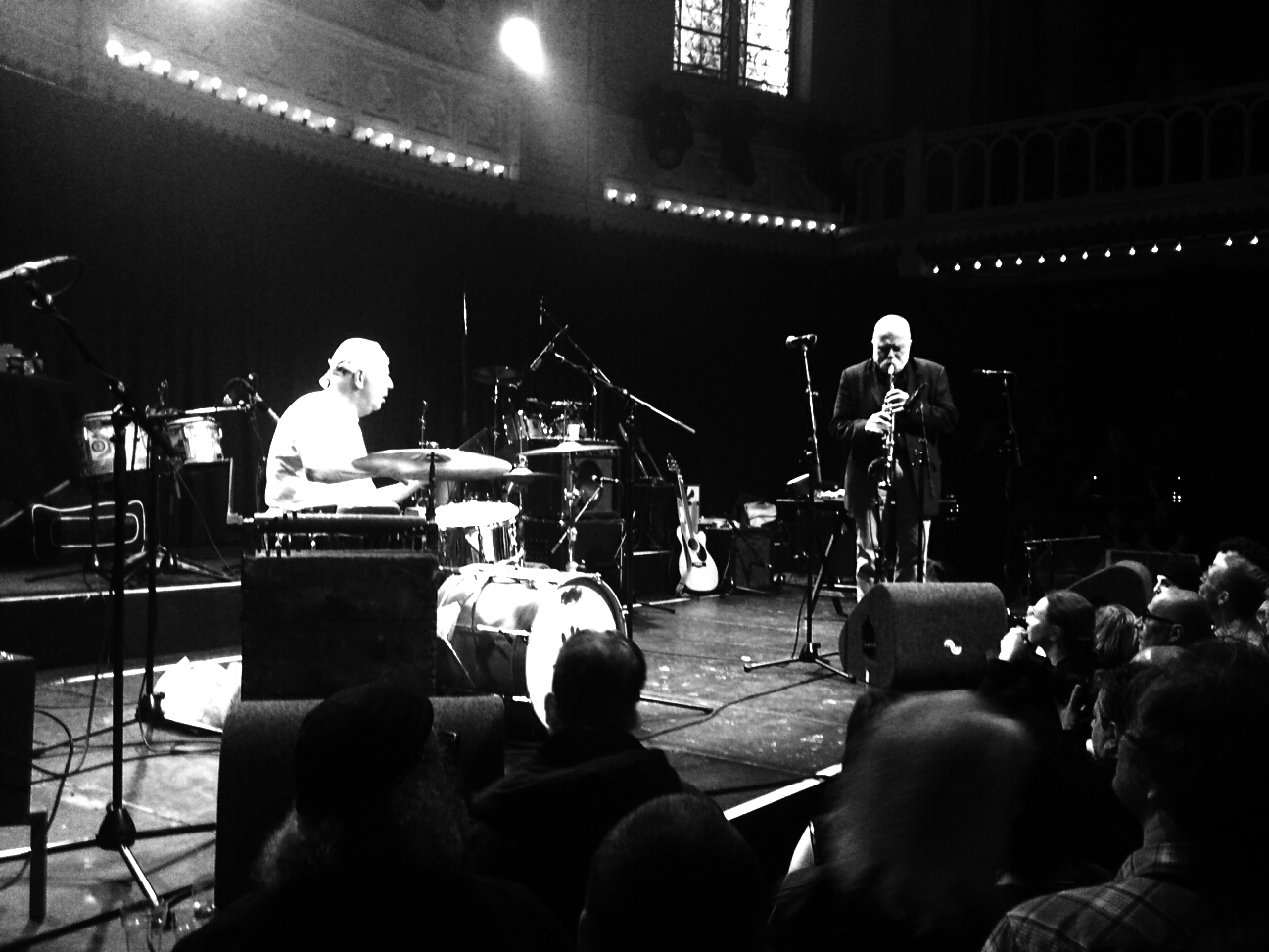 Han Bennink and Peter Brotzmann perform at The Ex festival, Paradiso, Amsterdam